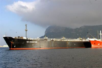 The MT Wilmington in The Bay of Gibraltar